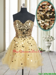 2017 Best Selling Sequined Bodice Zipper Up Organza Dama Dress in Champagne