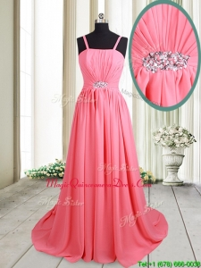 2017 Cheap Straps Brush Train Beaded Chiffon Dama Dress in Watermelon Red