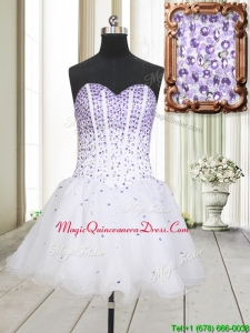 2017 Low Price Visible Boning Beaded Bodice White Dama Dress in Organza
