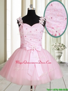 2017 New Applique Decorated Straps Baby Pink Short Dama Dress with Beading and Bowknot
