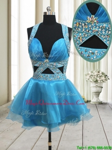 2017 Perfect Beaded Decorated Halter Top Baby Blue Backless Dama Dress in Organza
