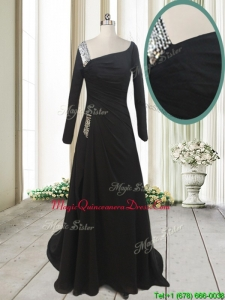 Fashionable Asymmetrical Neck Brush Train Black Dama Dress with Long Sleeves