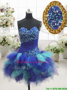Most Popular Two Tone Sweetheart Short Dama Dress with Beading and Ruffles