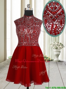 New Style High Neck Beaded and Sequined Dama Dress in Mini Length