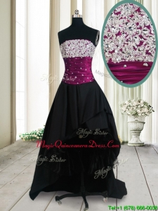 New Style Strapless Beaded Bust High Low Black Dama Dress in Taffeta