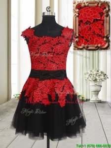 Simple Laced and Bowknot Square Tulle Short Dama Dress in Red and Black