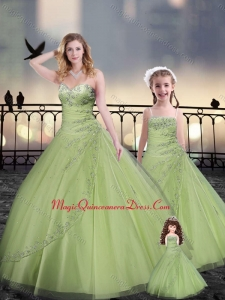 Yellow Green Macthing Princesita with Quinceanera Dresses in Tulle with Beading and Appliques