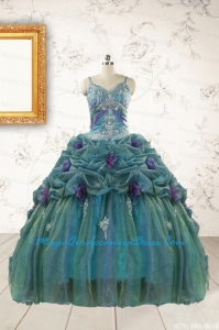 Beautiful Multi-color Straps Appliques Quinceanera Dresses for 2015