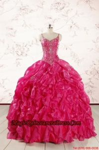 2015 Unique Beading Hot Pink Quinceanera Dresses with Spaghetti Straps