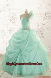 2015 Apple Green One Shoulder Cheap Quinceanera Dresses with Appliques
