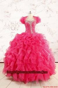 2015 Hot Pink Beading Wonderful Quinceanera Dresses