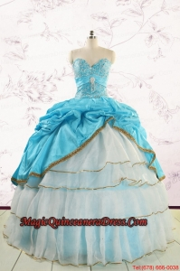 Custom Made Sweetheart Aqua Blue Quinceanea Dresses with Beading