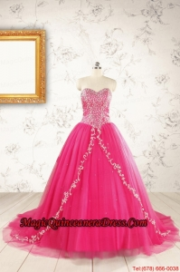 2015 Beautiful Hot Pink Quinceanera Dresses with Beading and Appliques