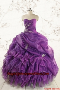 Romantic Purple Ball Gown 2015 Quinceanera Dress with Appliques and Ruffles
