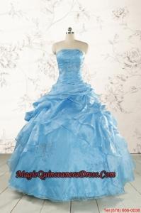 2015 Aqua Blue Hot Sale Appliques Quinceanera Dresses
