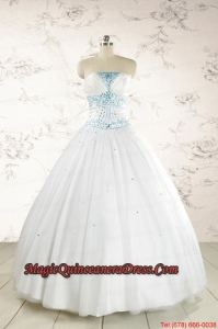 2015 Beautiful Appliques and Beading White Quinceanera Dresses