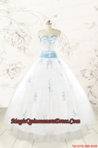 Discount Appliques and Beading White Ball Gown Quinceanera Dresses