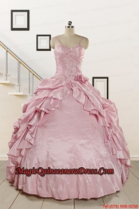 2015 Sweet Spaghetti Straps Beading Pink Quinceanera Dresses