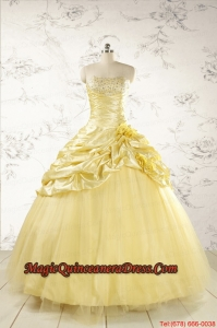 Yellow Sweetheart Ball Gown Quinceanera Dress for 2015