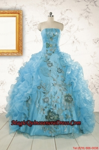2015 New Style Ruffles Embroidery Strapless Quinceanera Dresses in Baby Blue