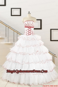 2015 Pretty Appliques Quinceanera Dresses with Strapless