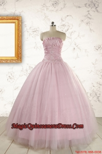 20b0551f43f 2015 Light Pink Strapless Simple Sweet 16 Dresses with Appliques