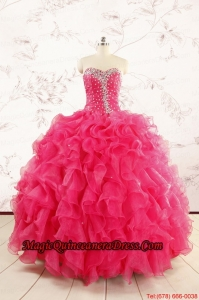 2015 Pretty Beading Sweet 15 Dresses in Hot Pink