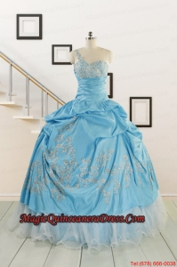 2015 Pretty One Shoulder Appliques Quinceanera Dresses in Aqua Blue