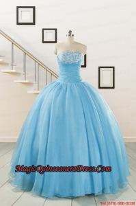 Aqua Blue Super Hot Puffy Sweet 16 Dresses for 2015