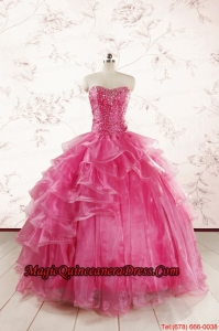 Hot Pink Sweetheart Beading Quinceanera Dresses with Brush Train