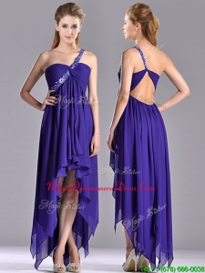 2016 Cheap High Low One Shoulder Criss Cross Dama Dress with Beading