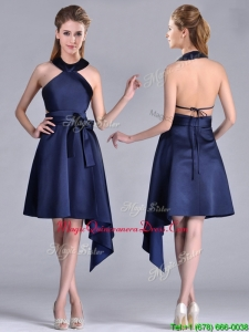 2016 Elegant Halter Top Asymmetrical Navy Blue Dama Dress in Satin
