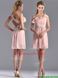 2016 Latest Beaded and Ruffled Pink Dama Dress with Criss Cross