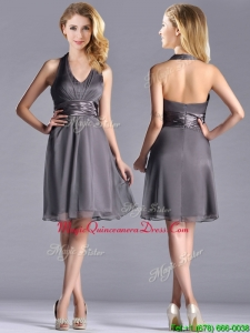2016 Romantic Chiffon Halter Top Knee Length Dama Dress in Grey