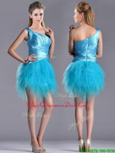 2016 Wonderful One Shoulder Ruched and Ruffled Aqua Blue Dama Dress in Tulle