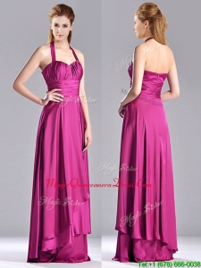 Classical Halter Top Fuchsia Long Dama Dress in Elastic Woven Satin