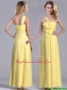 Exclusive One Shoulder Chiffon Yellow Dama Dress in Ankle Length