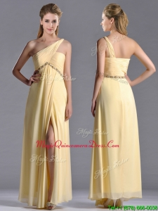 Exquisite One Shoulder Yellow Dama Dress with Beading and High Slit