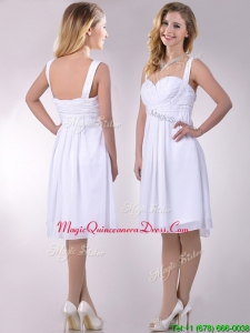 New Applique Decorated Straps and Waist White Dama Dress in Chiffon