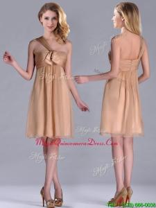 New Style One Shoulder Chiffon Short Dama Dress in Champagne