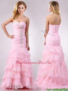 Popular Brush Train Organza Pink Dama Dress with Beading and Ruffles