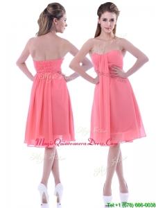 Popular Empire Chiffon Ruched Watermelon Dama Dress in Knee Length