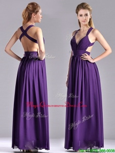 Sexy Purple Criss Cross Prom Dress with Ruched Decorated Bust