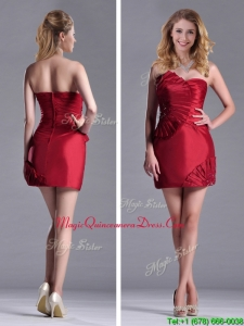 2016 Best Selling Column Wine Red Dama Dress with Asymmetrical Neckline