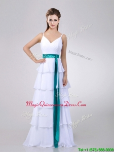 2016 Lovely White Dama Dress with Ruffled Layers and Turquoise Belt