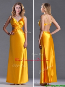 2016 Luxurious Beaded Decorated Straps Criss Cross Dama Dress in Gold