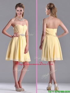 2016 Modest Empire Chiffon Yellow Short Dama Dress with Beading