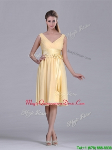 2016 New Arrivals V Neck Bowknot Chiffon Short Dama Dress in Yellow