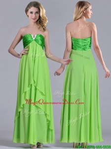 2016 Pretty Beaded Decorated V Neck Spring Green Dama Dress in Ankle Length