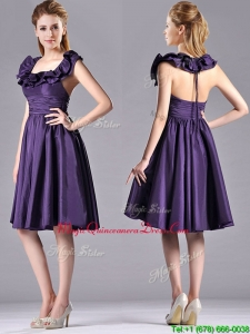 Elegant Halter Top Backless Short Dama Dress in Dark Purple